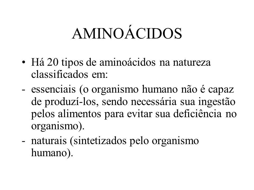 AMINOÁCIDOS Há 20 tipos de aminoácidos na natureza classificados em: