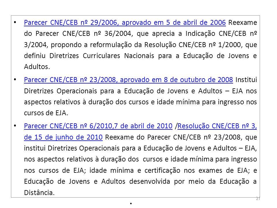 Parecer CNE/CEB nº 29/2006, aprovado em 5 de abril de 2006 Reexame do Parecer CNE/CEB nº 36/2004, que aprecia a Indicação CNE/CEB nº 3/2004, propondo a reformulação da Resolução CNE/CEB nº 1/2000, que definiu Diretrizes Curriculares Nacionais para a Educação de Jovens e Adultos.