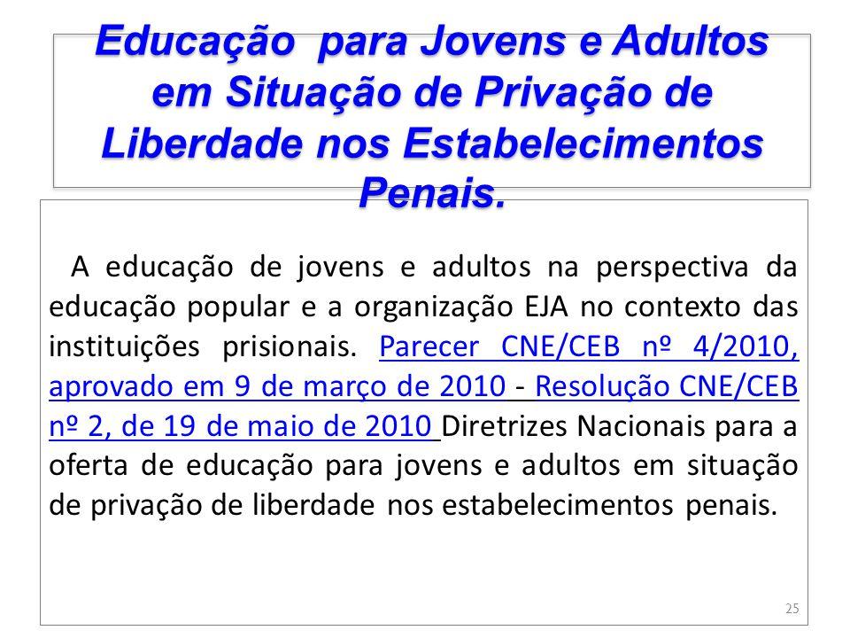 Educação para Jovens e Adultos em Situação de Privação de Liberdade nos Estabelecimentos Penais.