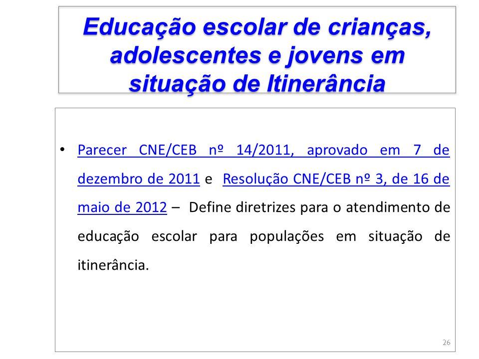 Educação escolar de crianças, adolescentes e jovens em situação de Itinerância