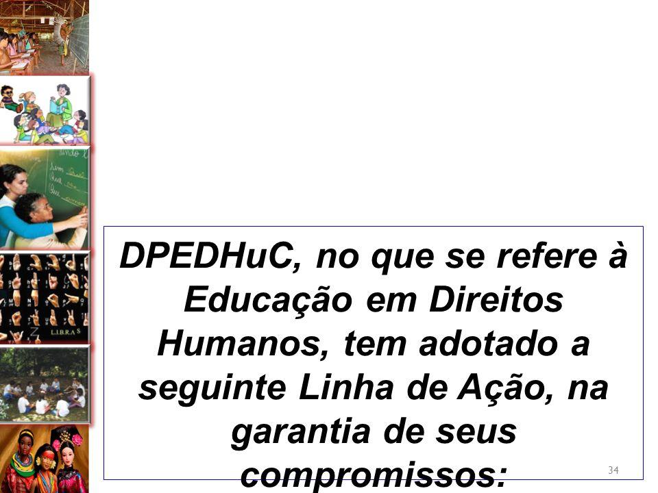 DPEDHuC, no que se refere à Educação em Direitos Humanos, tem adotado a seguinte Linha de Ação, na garantia de seus compromissos: