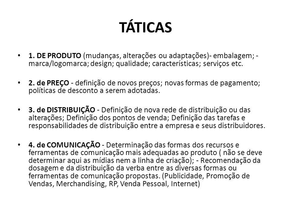TÁTICAS 1. DE PRODUTO (mudanças, alterações ou adaptações)- embalagem; - marca/logomarca; design; qualidade; características; serviços etc.