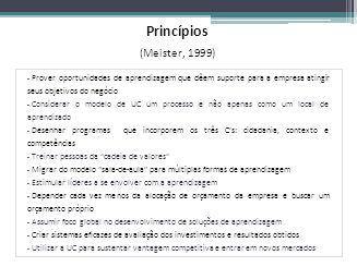 Princípios (Meister, 1999) Prover oportunidades de aprendizagem que dêem suporte para a empresa atingir seus objetivos do negócio.