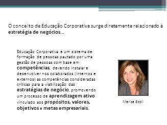 O conceito de Educação Corporativa surge diretamente relacionado à estratégia de negócios...
