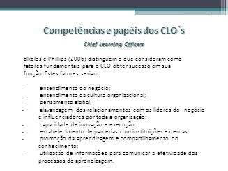 Competências e papéis dos CLO´s Chief Learning Officers