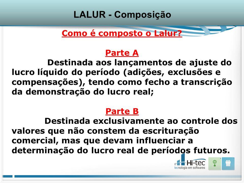 LALUR - Composição Como é composto o Lalur Parte A