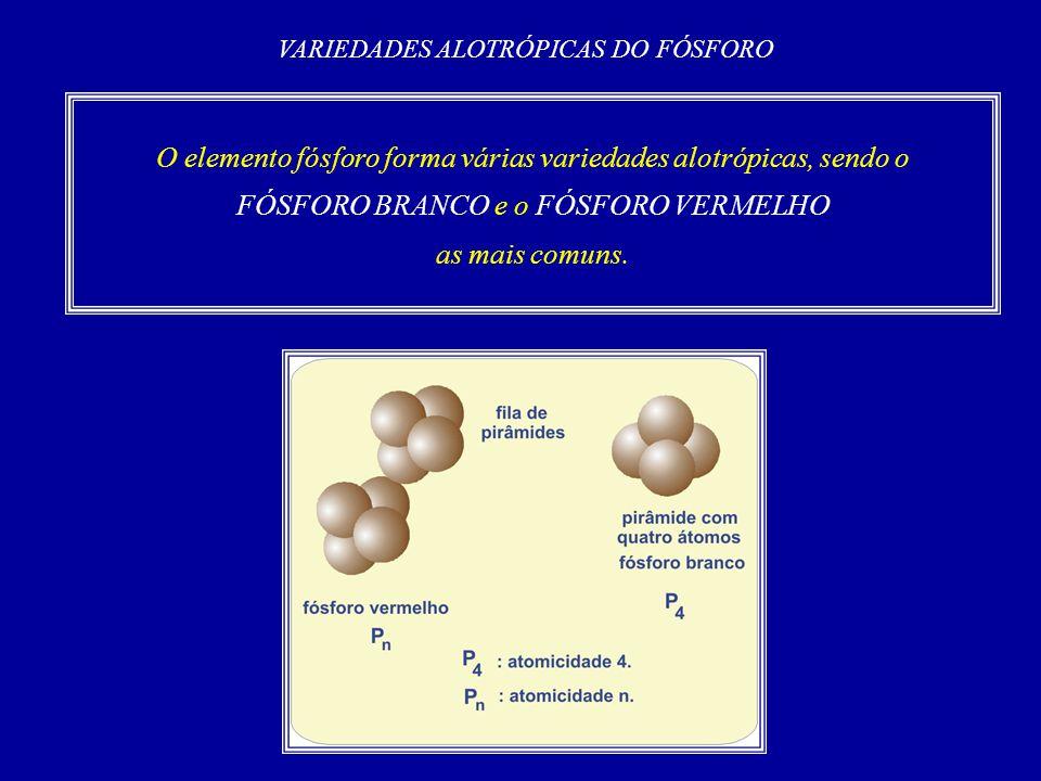 O elemento fósforo forma várias variedades alotrópicas, sendo o