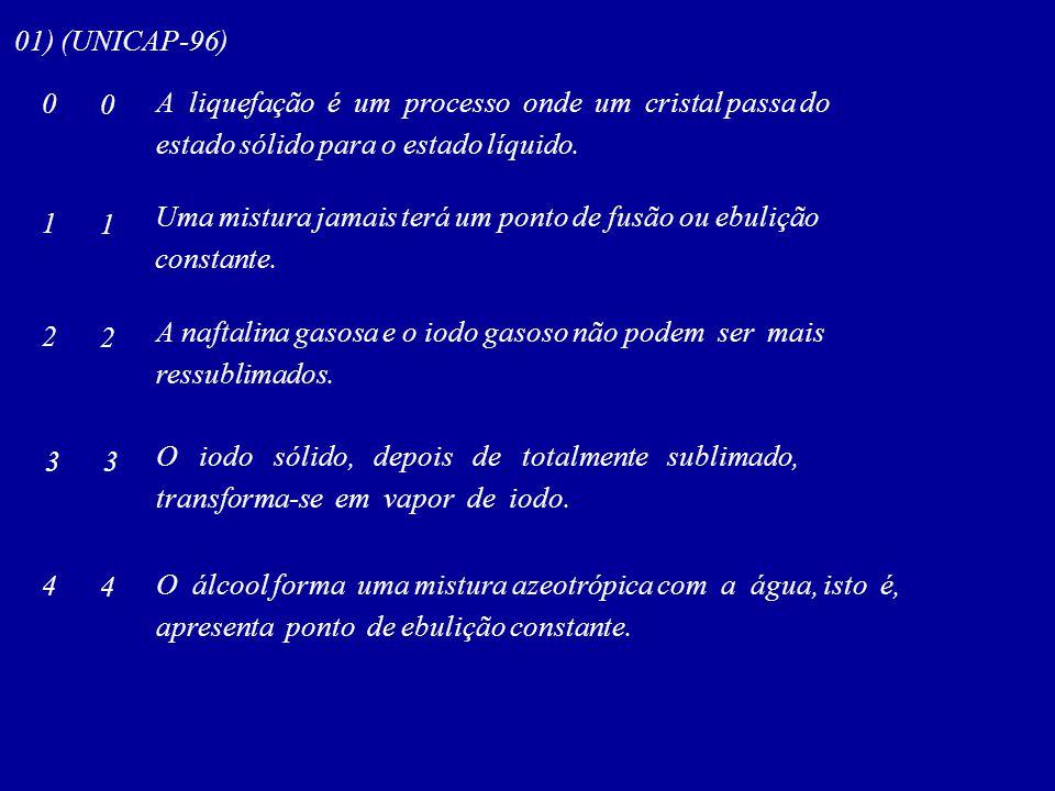 01) (UNICAP-96) A liquefação é um processo onde um cristal passa do. estado sólido para o estado líquido.