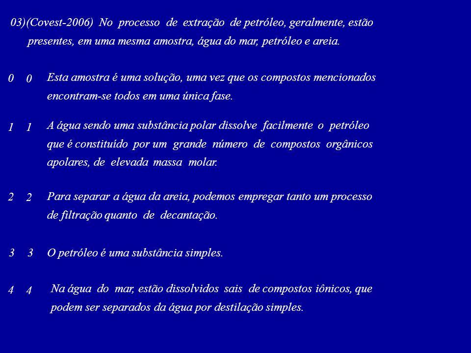 03)(Covest-2006) No processo de extração de petróleo, geralmente, estão