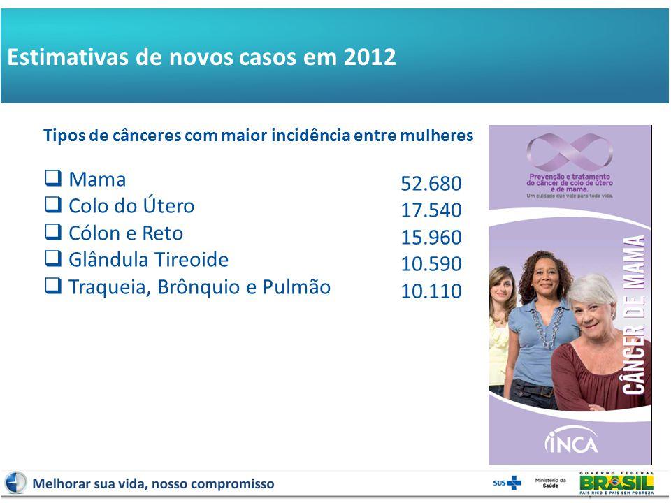 Estimativas de novos casos em 2012