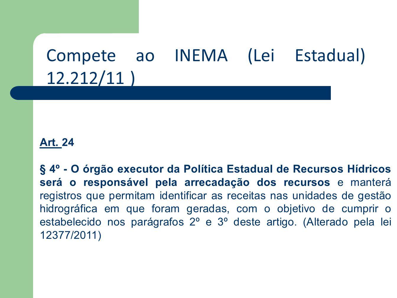 Compete ao INEMA (Lei Estadual) 12.212/11 )