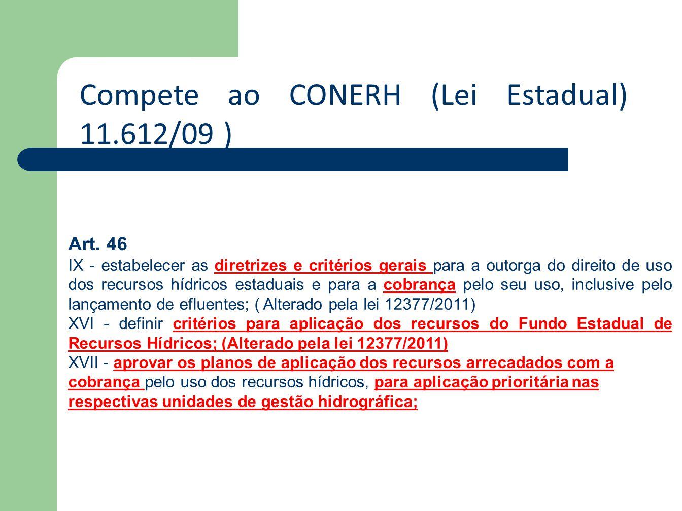 Compete ao CONERH (Lei Estadual) 11.612/09 )