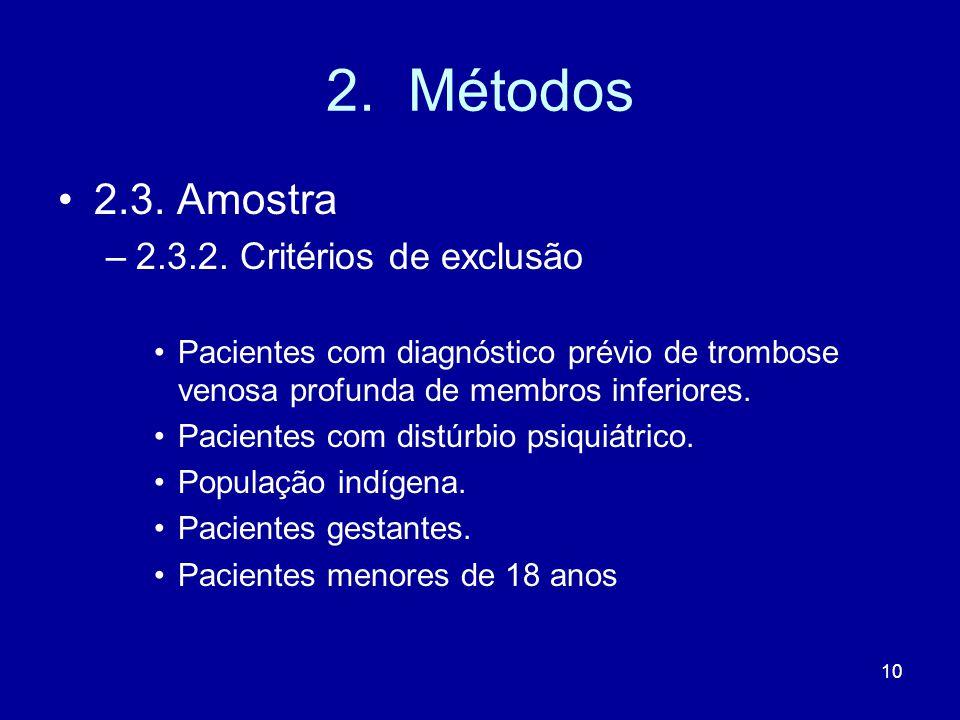 2. Métodos 2.3. Amostra 2.3.2. Critérios de exclusão