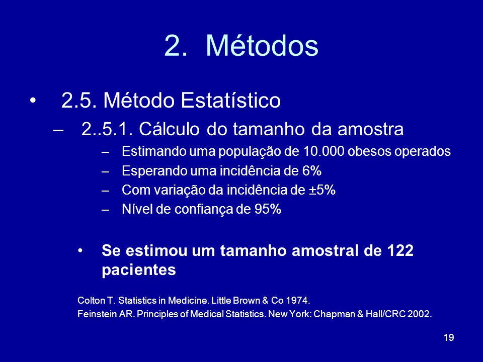 2. Métodos 2.5. Método Estatístico