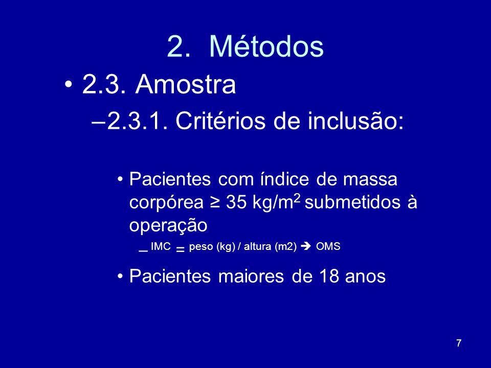 2. Métodos 2.3. Amostra 2.3.1. Critérios de inclusão: