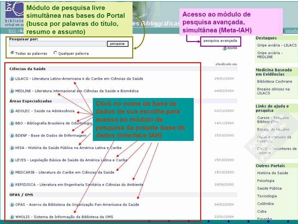 Módulo de pesquisa livre simultânea nas bases do Portal (busca por palavras do título, resumo e assunto)