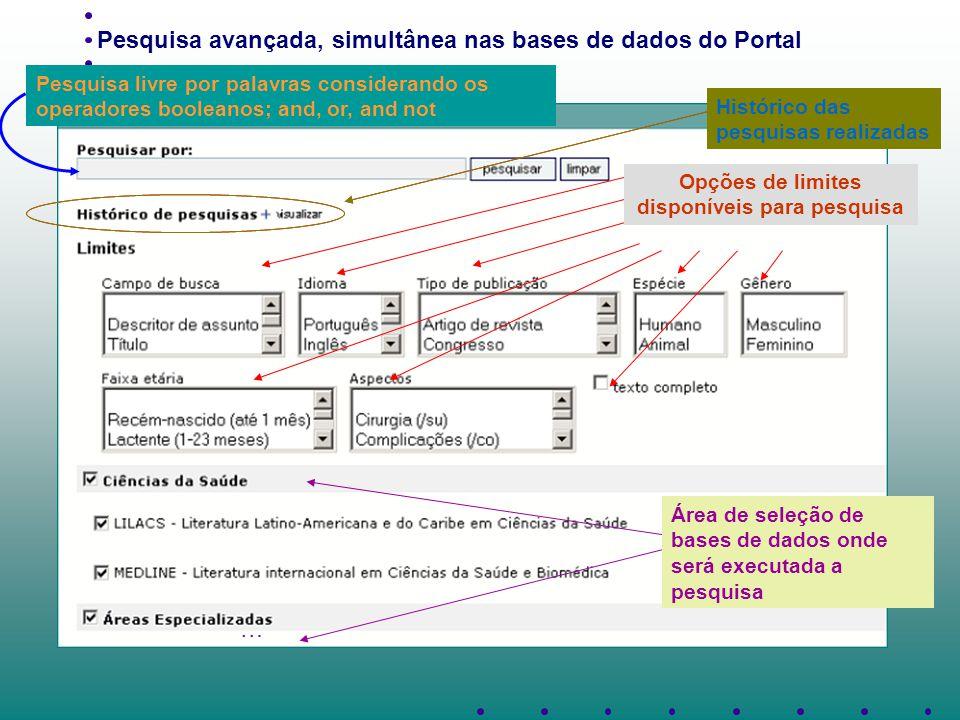 Pesquisa avançada, simultânea nas bases de dados do Portal