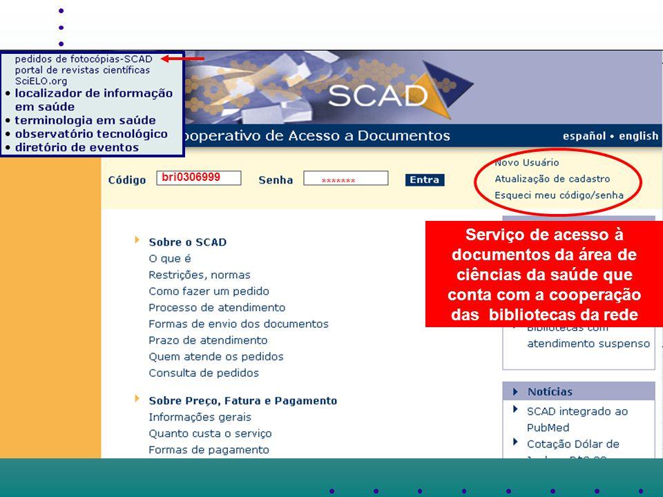 bri0306999 ******* Serviço de acesso à documentos da área de ciências da saúde que conta com a cooperação das bibliotecas da rede.
