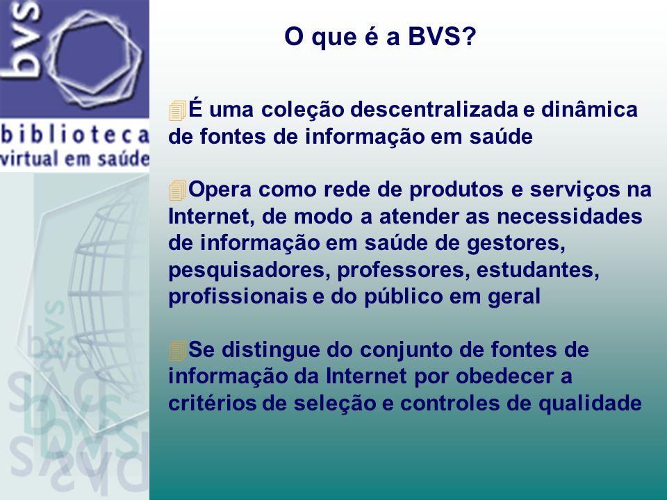 O que é a BVS É uma coleção descentralizada e dinâmica de fontes de informação em saúde.