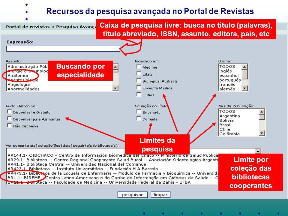 Recursos da pesquisa avançada no Portal de Revistas