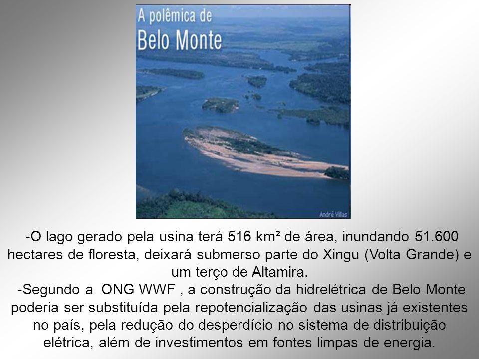 -O lago gerado pela usina terá 516 km² de área, inundando 51