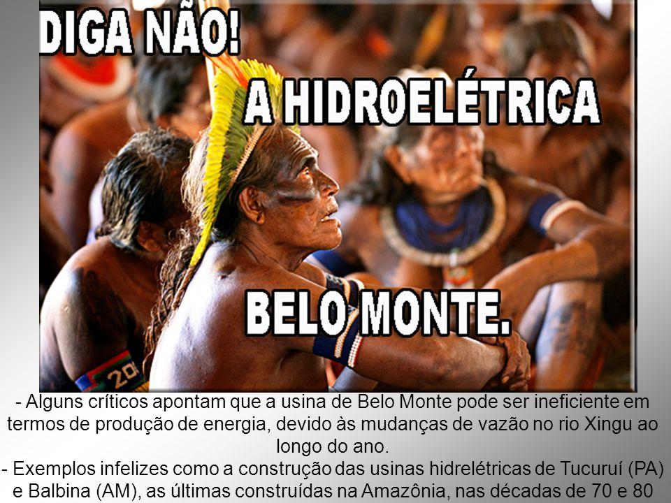 - Alguns críticos apontam que a usina de Belo Monte pode ser ineficiente em termos de produção de energia, devido às mudanças de vazão no rio Xingu ao longo do ano.