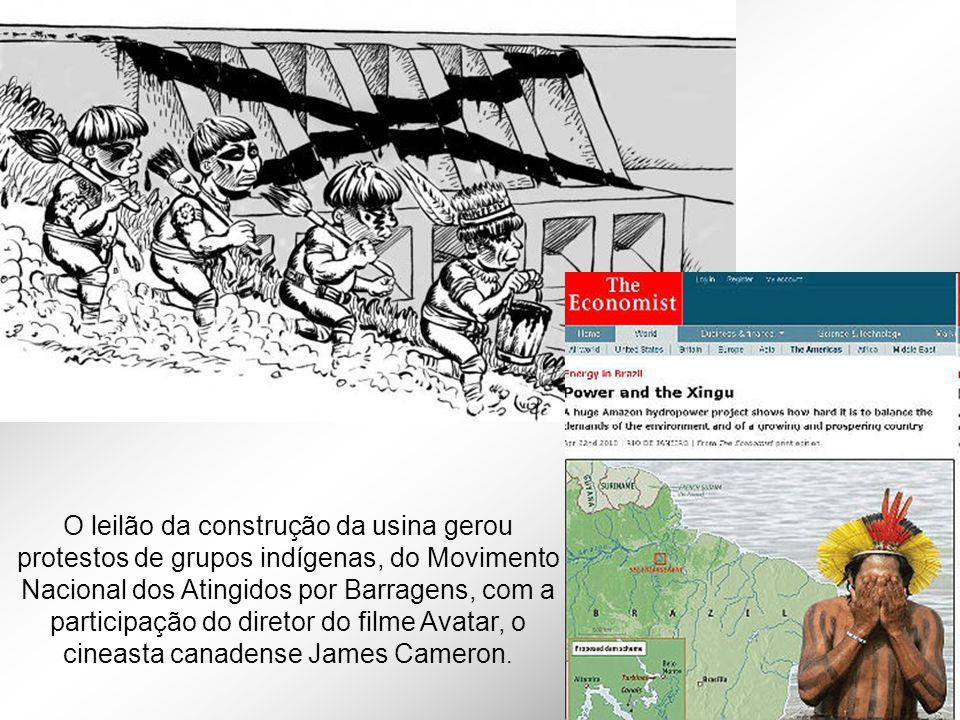 O leilão da construção da usina gerou protestos de grupos indígenas, do Movimento Nacional dos Atingidos por Barragens, com a participação do diretor do filme Avatar, o cineasta canadense James Cameron.