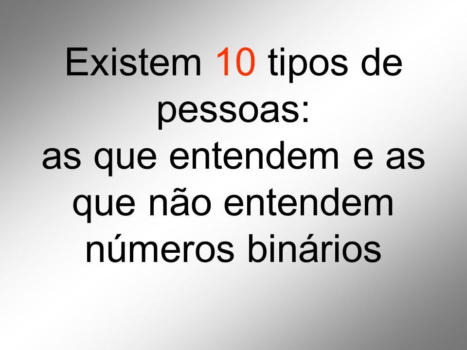 Existem 10 tipos de pessoas: as que entendem e as que não entendem números binários