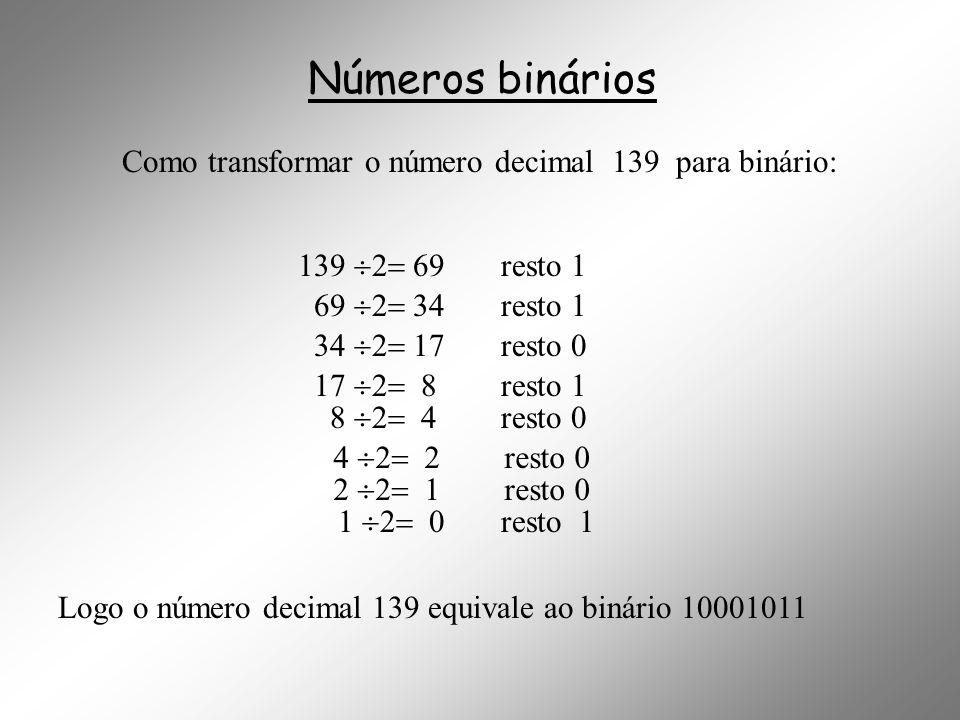 Números binários Como transformar o número decimal 139 para binário: