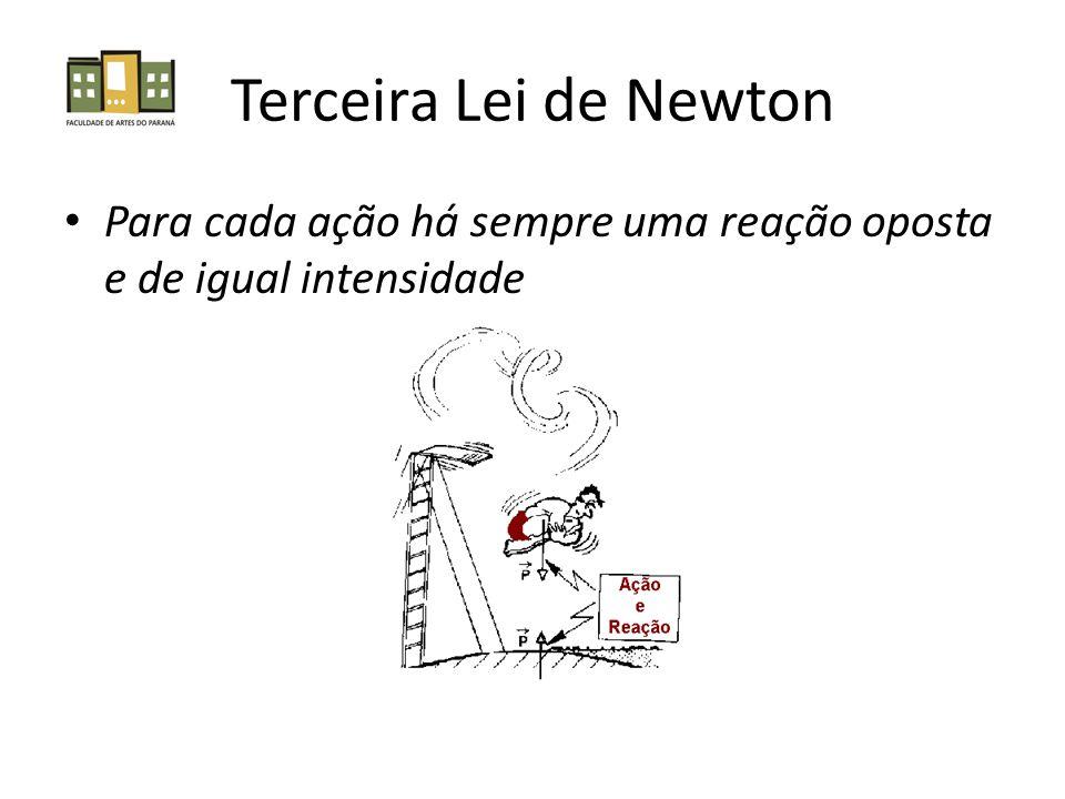 Terceira Lei de Newton Para cada ação há sempre uma reação oposta e de igual intensidade