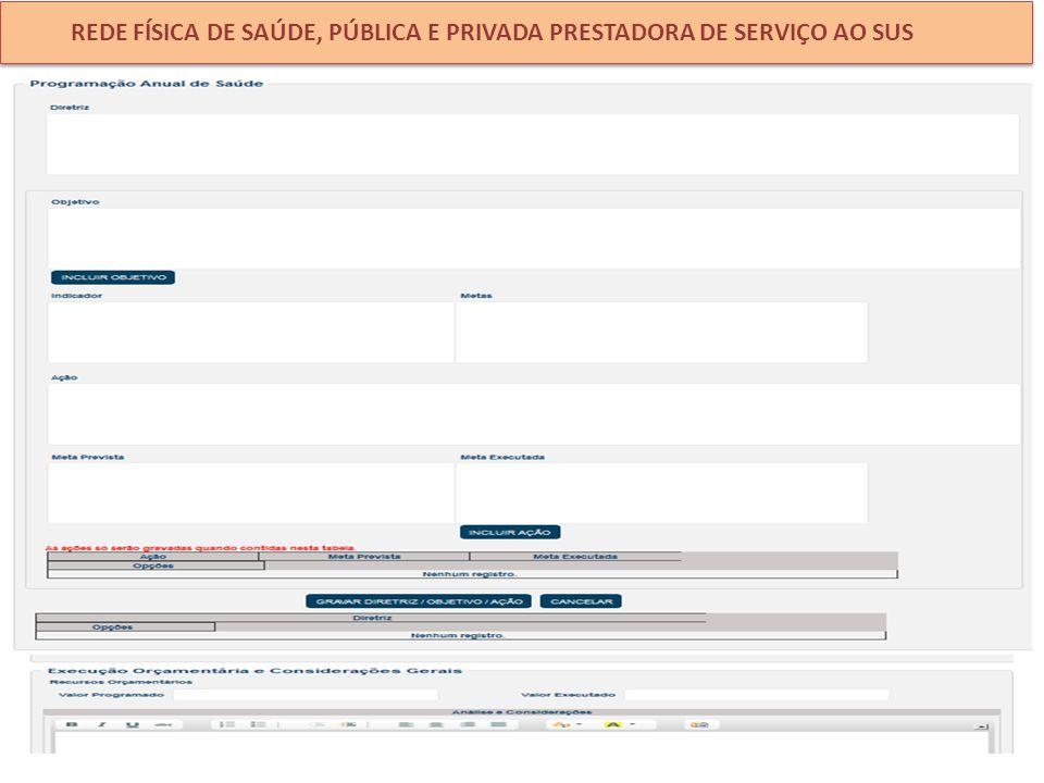 REDE FÍSICA DE SAÚDE, PÚBLICA E PRIVADA PRESTADORA DE SERVIÇO AO SUS