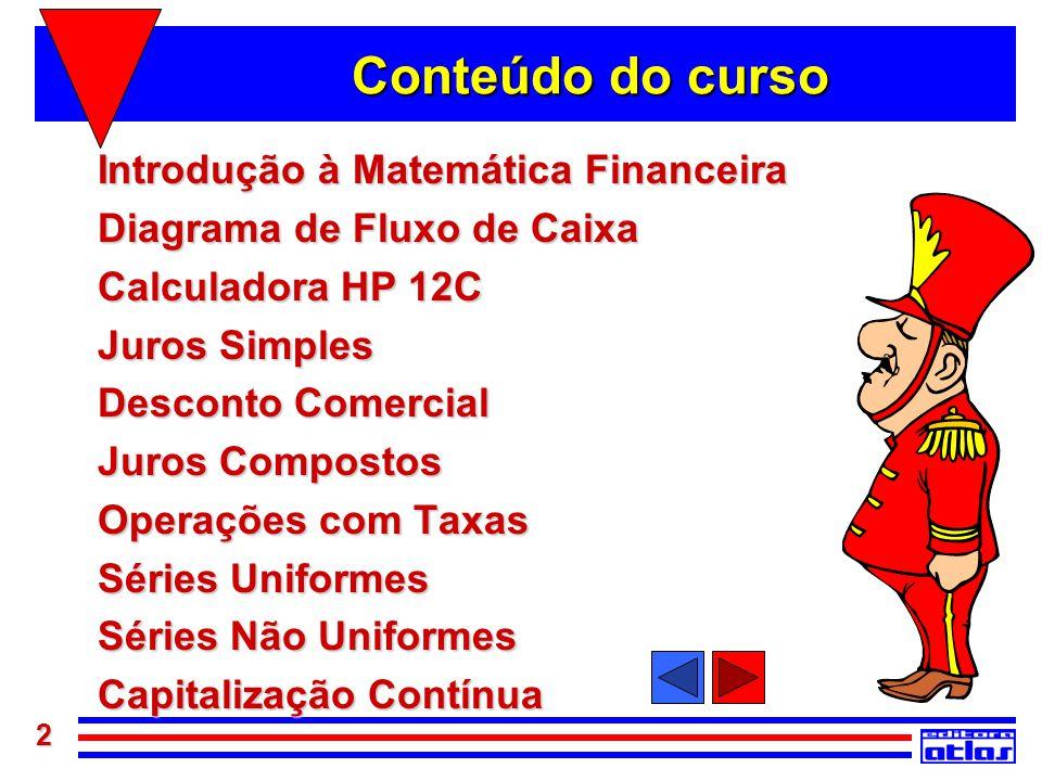 Conteúdo do curso Introdução à Matemática Financeira