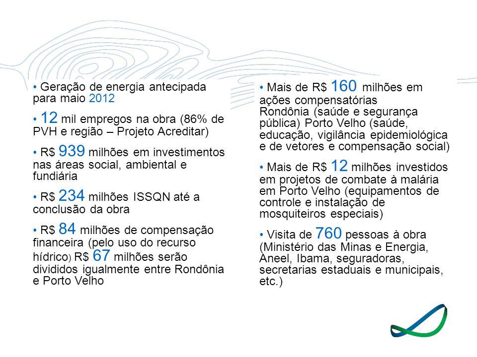 • Mais de R$ 160 milhões em ações compensatórias Rondônia (saúde e segurança pública) Porto Velho (saúde, educação, vigilância epidemiológica e de vetores e compensação social)