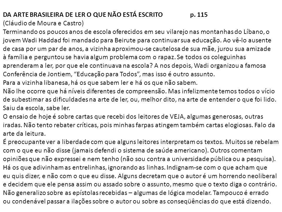 DA ARTE BRASILEIRA DE LER O QUE NÃO ESTÁ ESCRITO p. 115