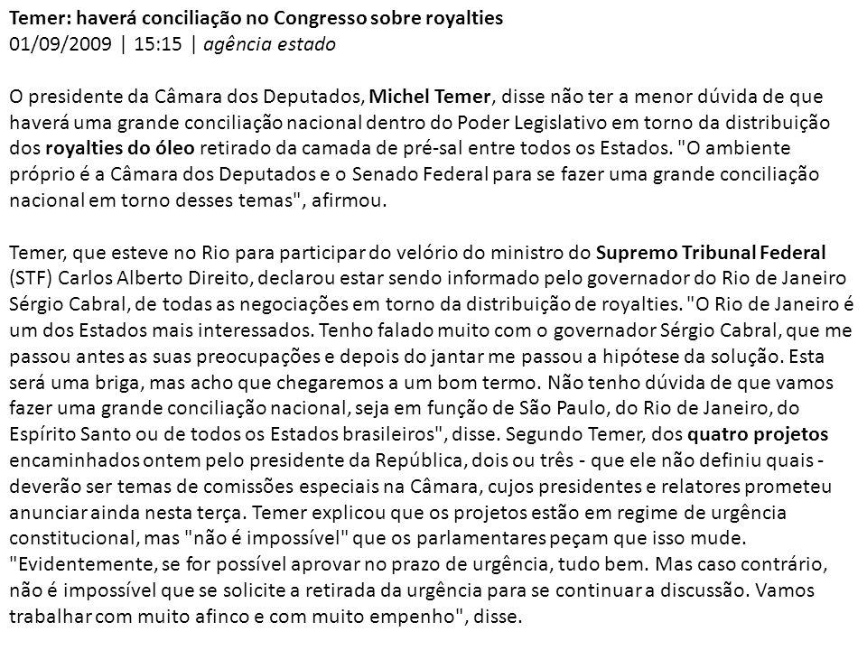 Temer: haverá conciliação no Congresso sobre royalties