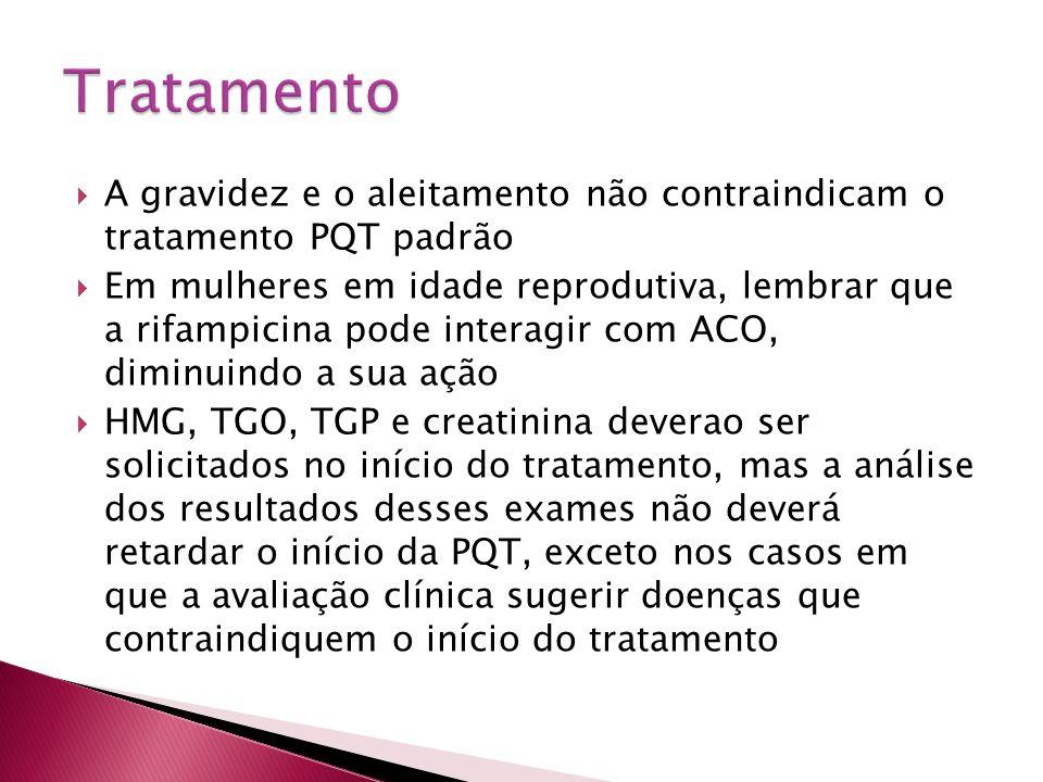 Tratamento A gravidez e o aleitamento não contraindicam o tratamento PQT padrão.
