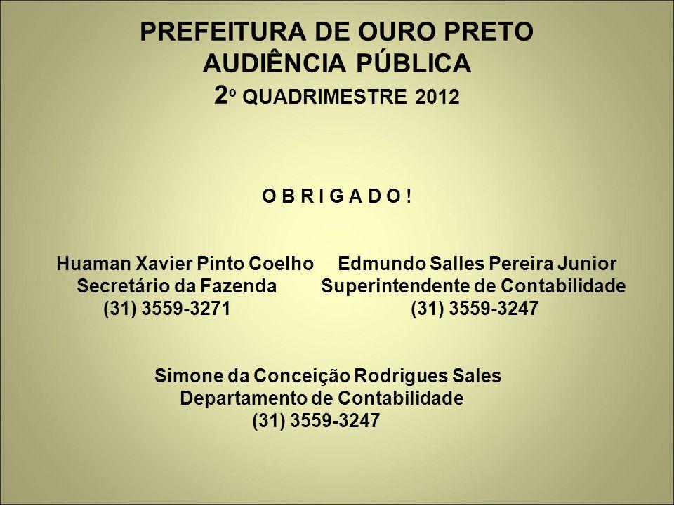 PREFEITURA DE OURO PRETO AUDIÊNCIA PÚBLICA 2º QUADRIMESTRE 2012