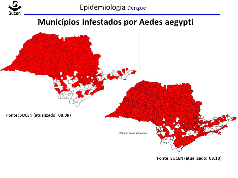 Municípios infestados por Aedes aegypti