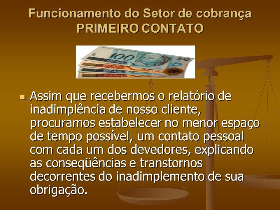 Funcionamento do Setor de cobrança PRIMEIRO CONTATO