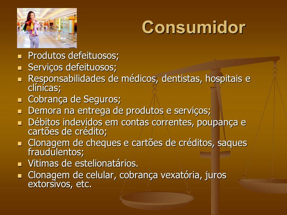 Consumidor Produtos defeituosos; Serviços defeituosos;