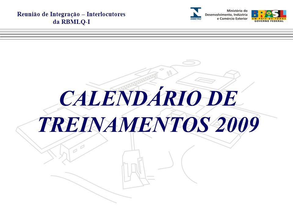 CALENDÁRIO DE TREINAMENTOS 2009