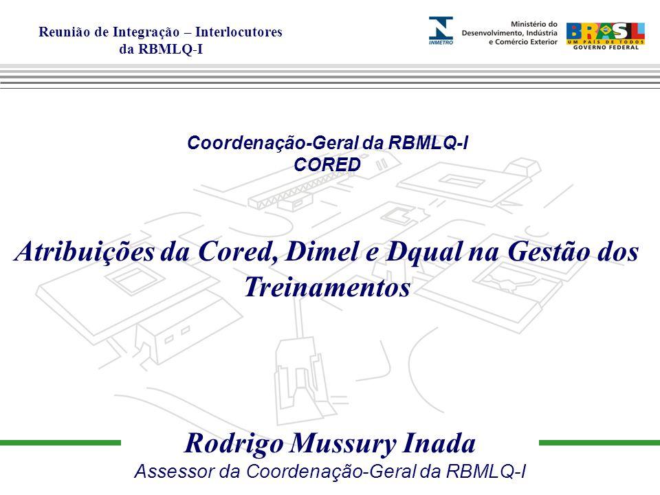 Atribuições da Cored, Dimel e Dqual na Gestão dos Treinamentos