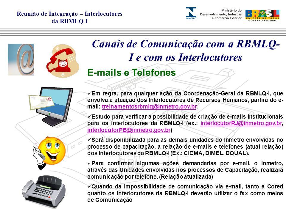 Canais de Comunicação com a RBMLQ-I e com os Interlocutores