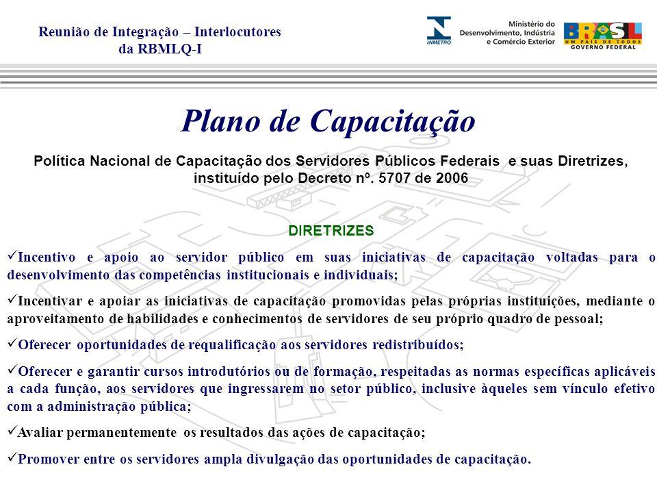 Plano de Capacitação Política Nacional de Capacitação dos Servidores Públicos Federais e suas Diretrizes, instituído pelo Decreto nº. 5707 de 2006.