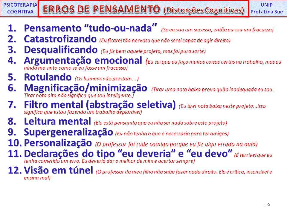PSICOTERAPIA COGNITIVA ERROS DE PENSAMENTO (Distorções Cognitivas)