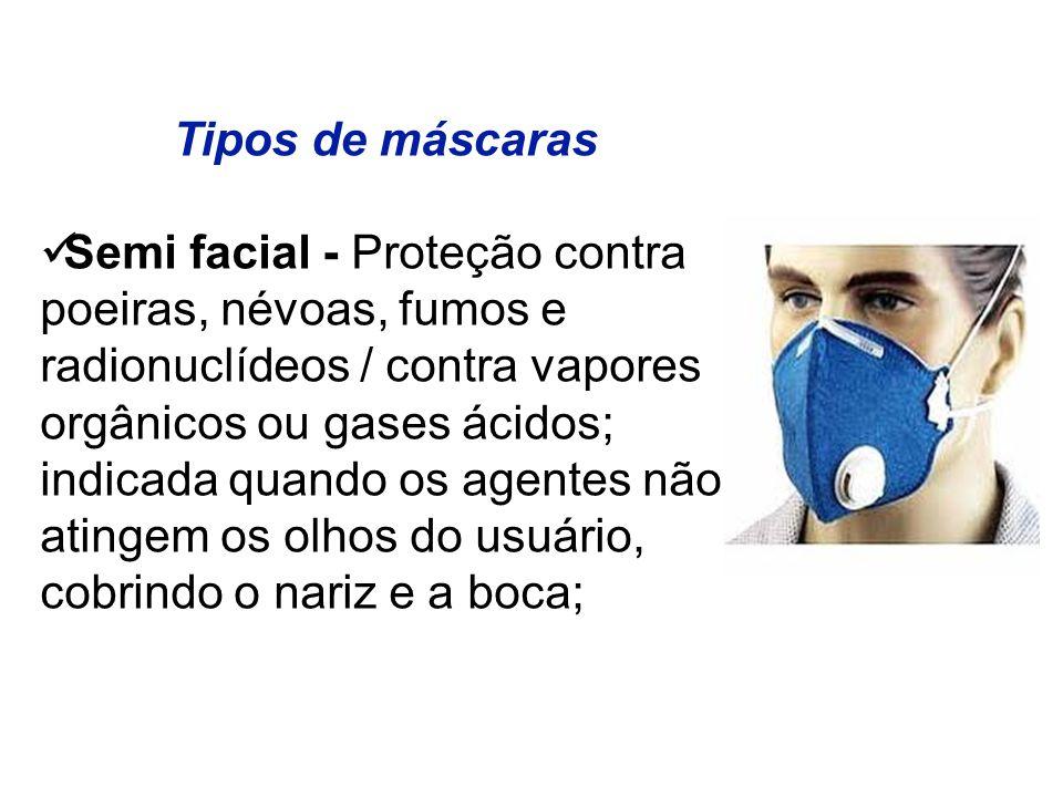 Tipos de máscaras Semi facial - Proteção contra. poeiras, névoas, fumos e. radionuclídeos / contra vapores.