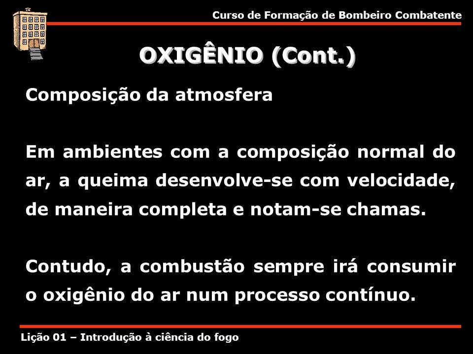 OXIGÊNIO (Cont.) Composição da atmosfera