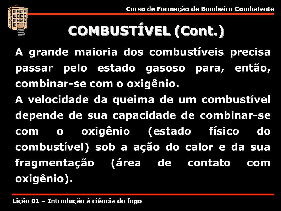 COMBUSTÍVEL (Cont.) A grande maioria dos combustíveis precisa passar pelo estado gasoso para, então, combinar-se com o oxigênio.