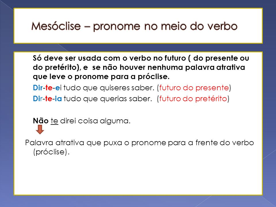 Mesóclise – pronome no meio do verbo