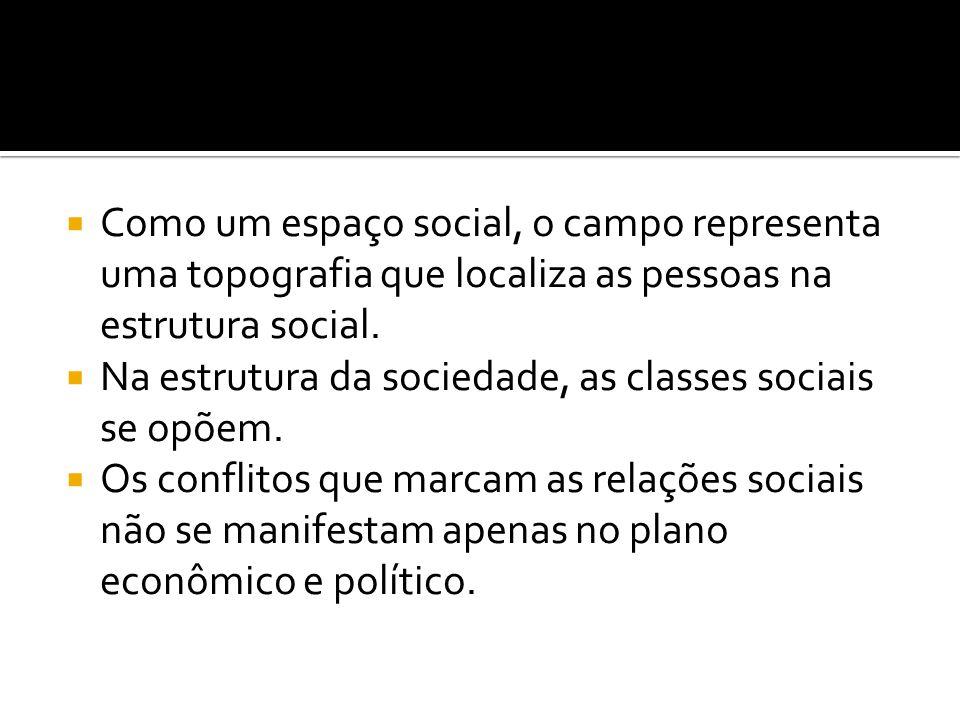 Como um espaço social, o campo representa uma topografia que localiza as pessoas na estrutura social.